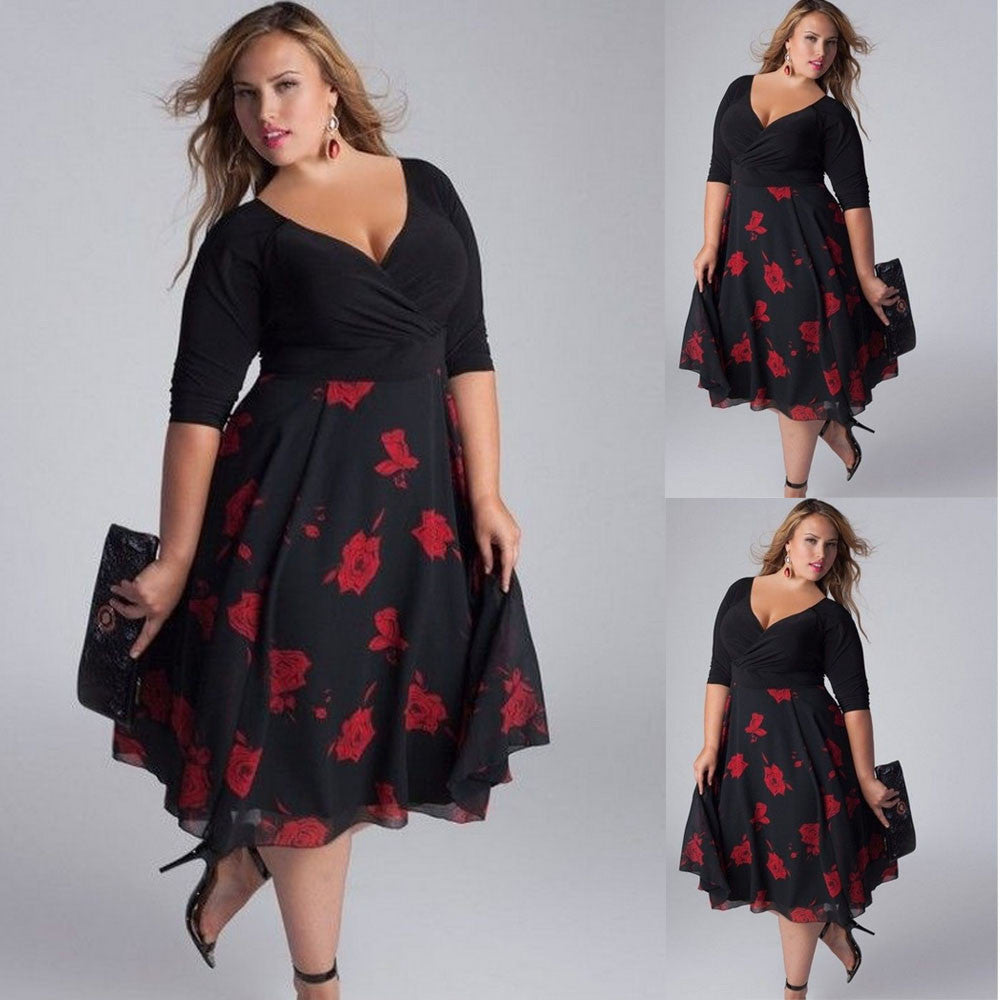 Boho Style Plus Size Sexy V-Neck Floral Maxi Evening Party Boho Beach Dress