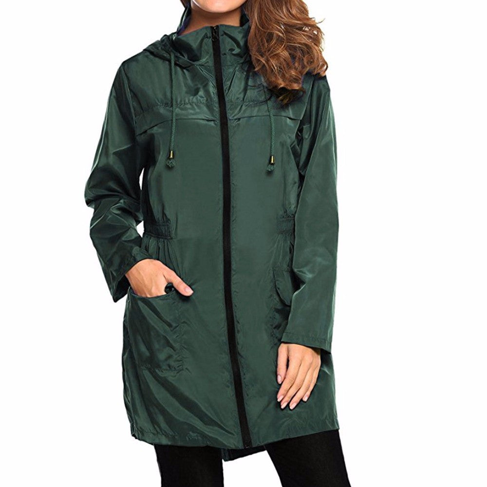 Boho Style Lightweight Travel Waterproof Raincoat Hoodie Windproof Hiking Coat Jacket - Gisselle Morales