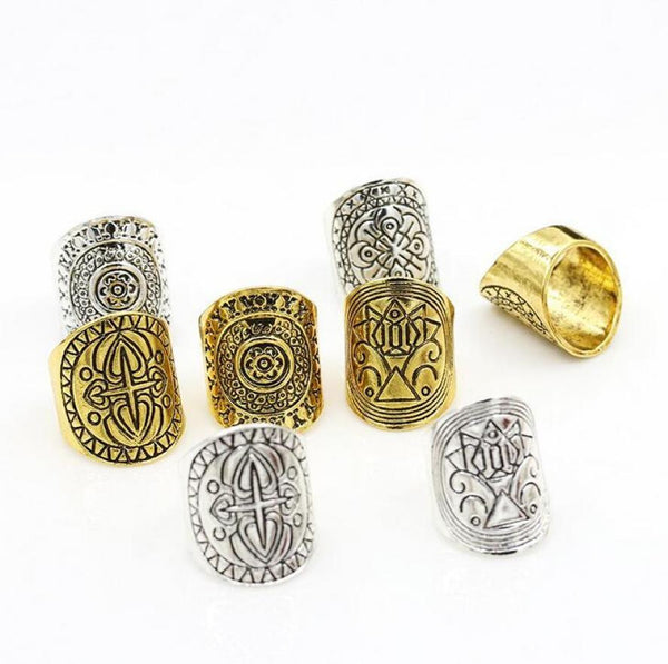 2pcs European and American bohemian index finger ring width version Retro geometric carved totem ring Random Color - Gisselle Morales
