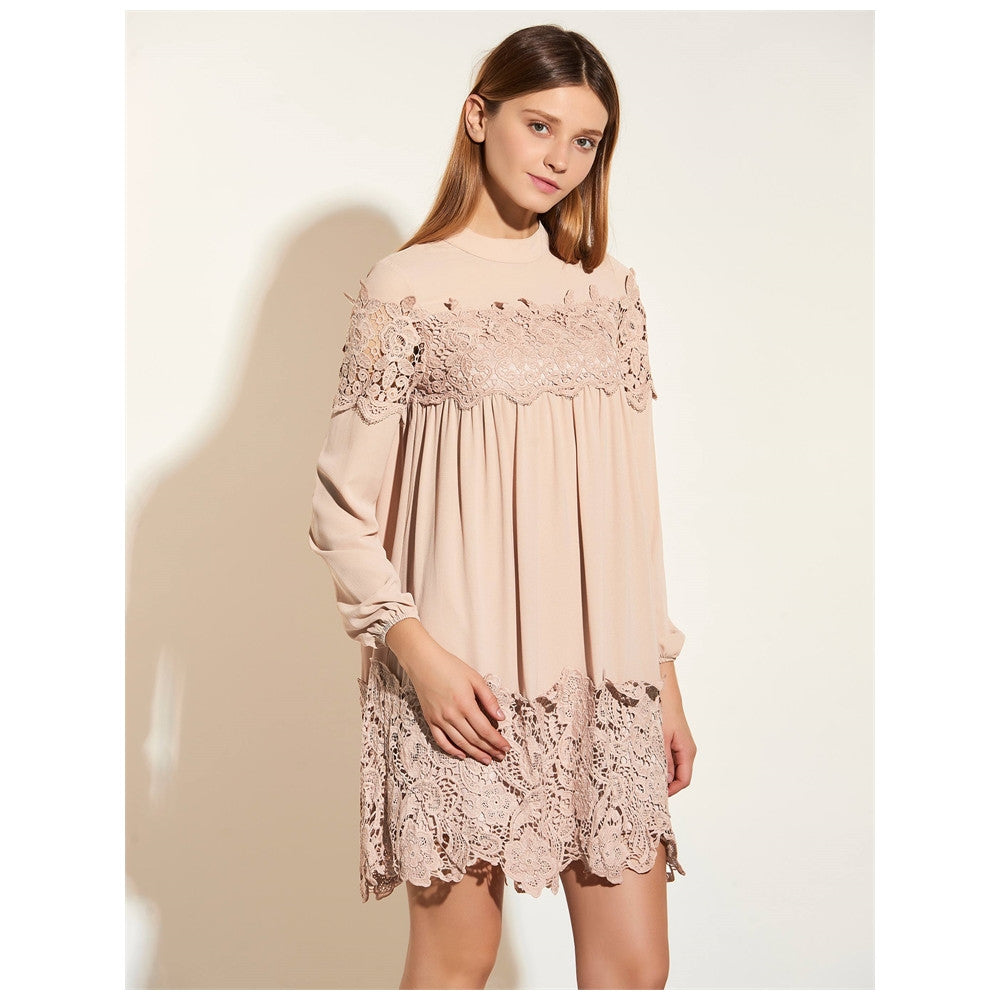 Boho Dress Above Knee Long Sleeve Nude Elegant A-line Dress - Gisselle Morales
