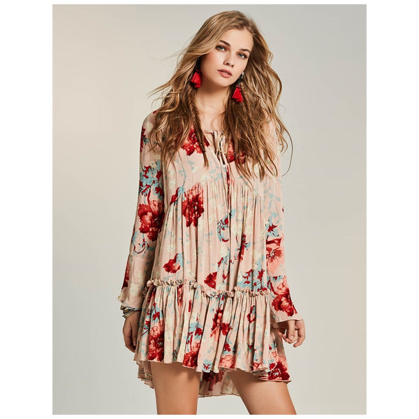 Boho Dress Above Knee Pink Round Collar Floral Peplum Dress - Gisselle Morales