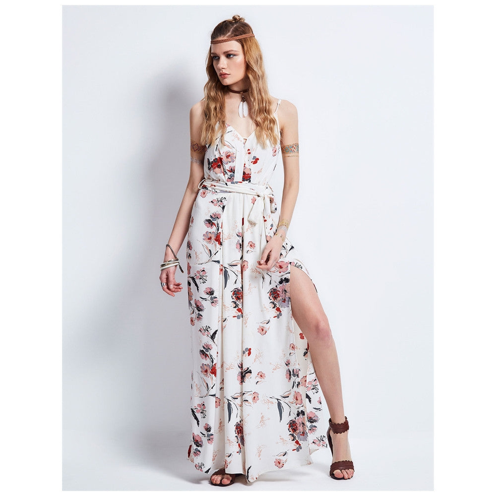 Boho Dress White V-Neck Fashion Party Slip Dress - Gisselle Morales