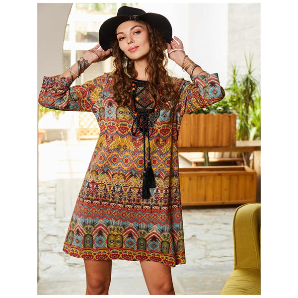 Boho Dress Yellow Retro Party A-line Dress