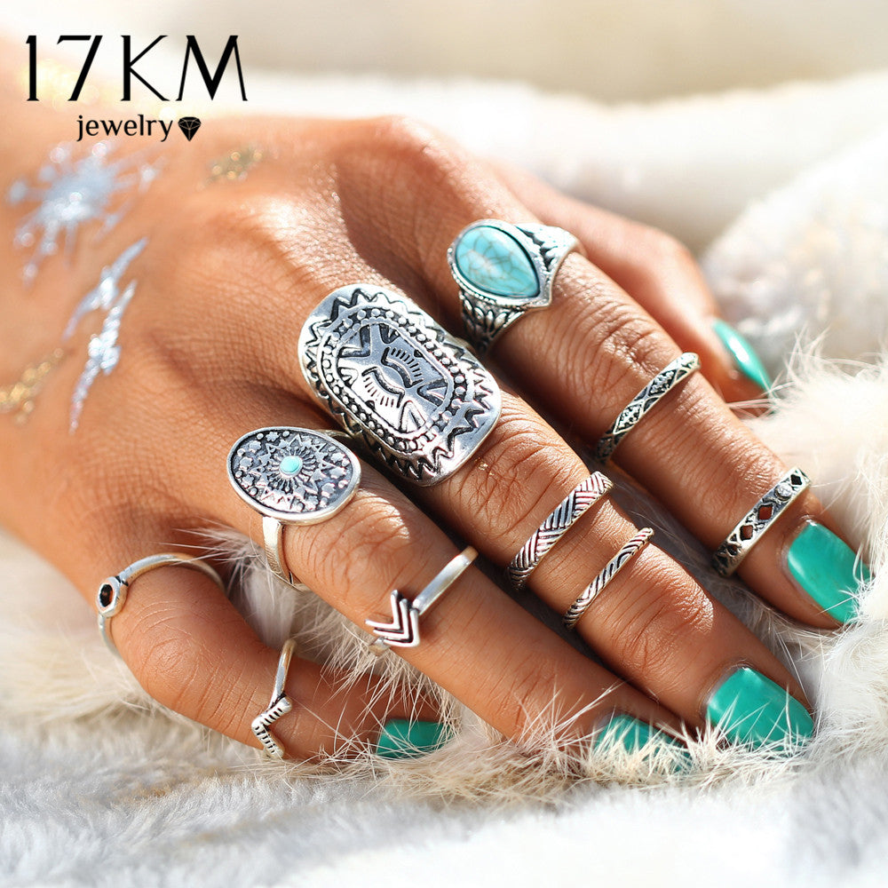 Mix Finger Midi Hippie Boho Ring Set