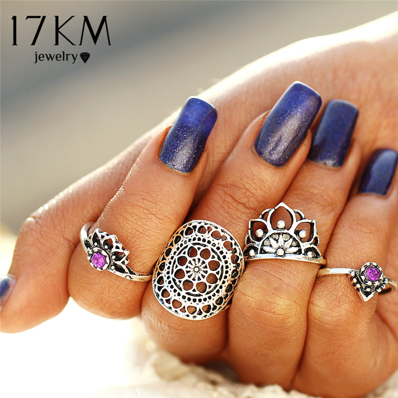 4 Pcs/ set Tibetan Geometric Flower Knuckle Rings - Gisselle Morales