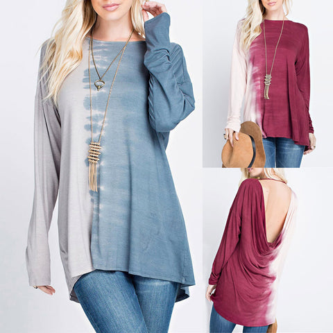 Long Sleeve Plus Size Patchwork T-Shirt Loose Blouse Casual Top