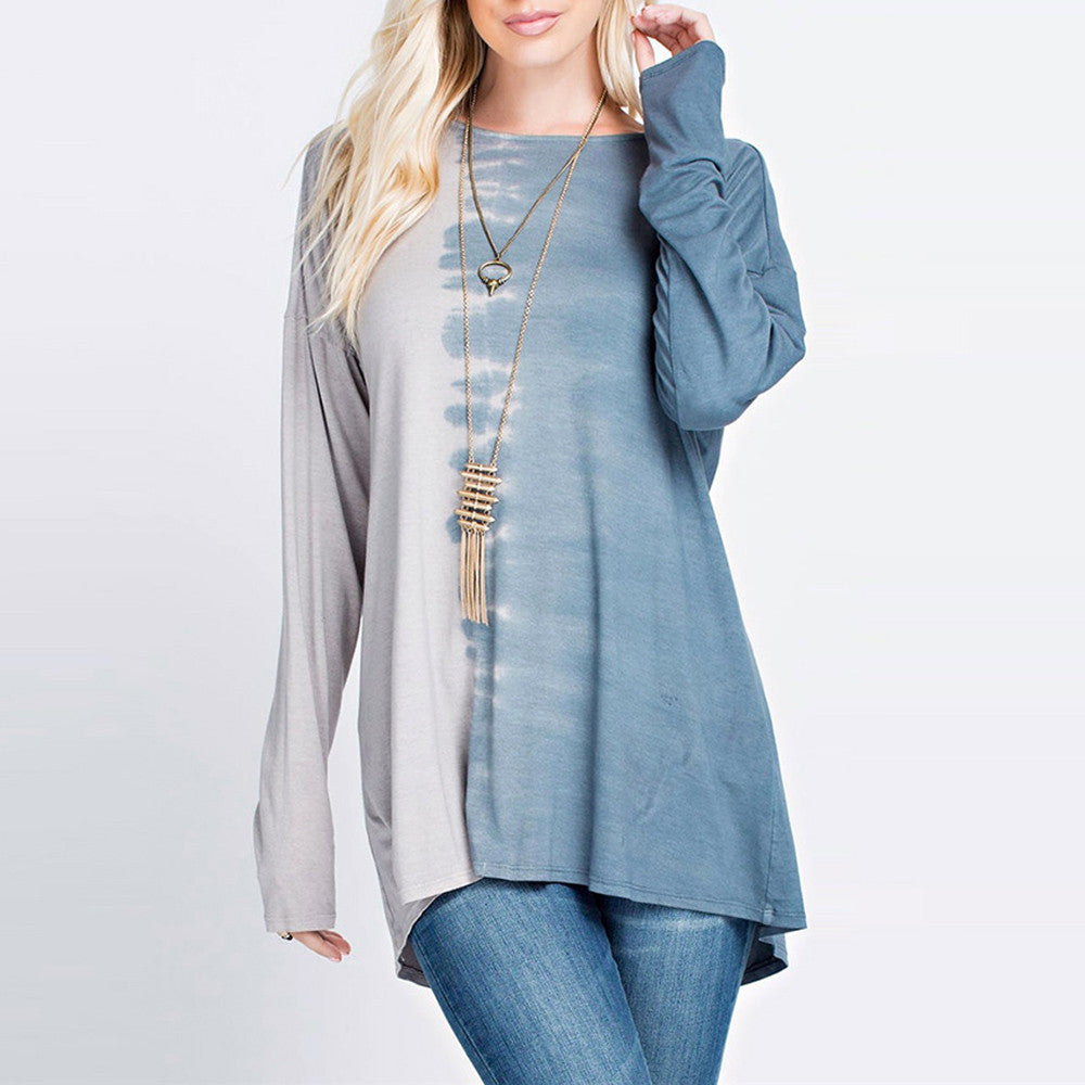 Long Sleeve Plus Size Patchwork T-Shirt Loose Blouse Casual Top - Gisselle Morales