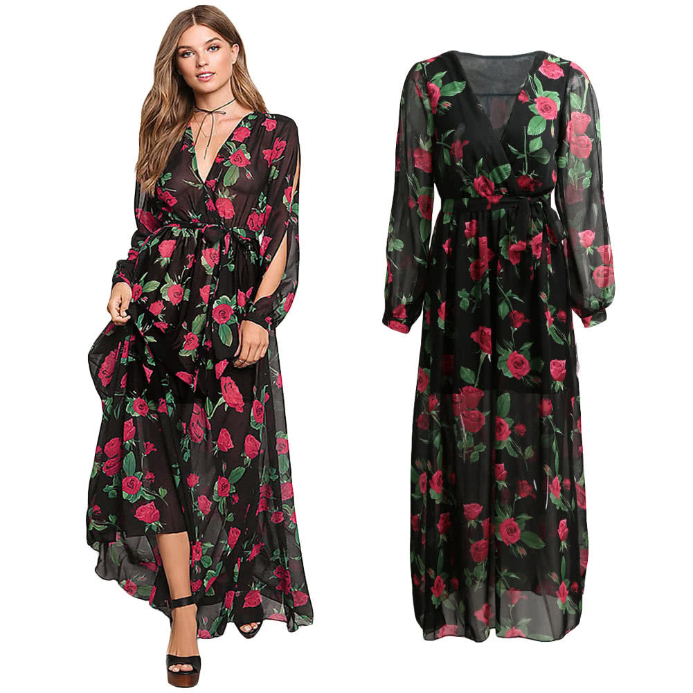 Maxi Dress Sheer Chiffon Floral Cross V-Neck Cut Out Sleeve - Gisselle Morales