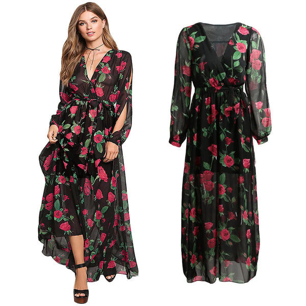 Maxi Dress Sheer Chiffon Floral Cross V-Neck Cut Out Sleeve