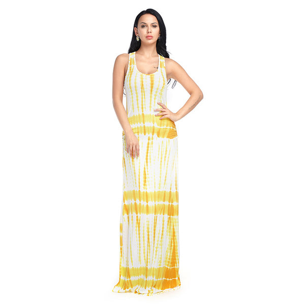 Boho Style Beach Boho Dress Maxi Summer Off Shoulder Fashion Casual Loose Dresses Ladies Hippies Yellow Blue Orange Pink