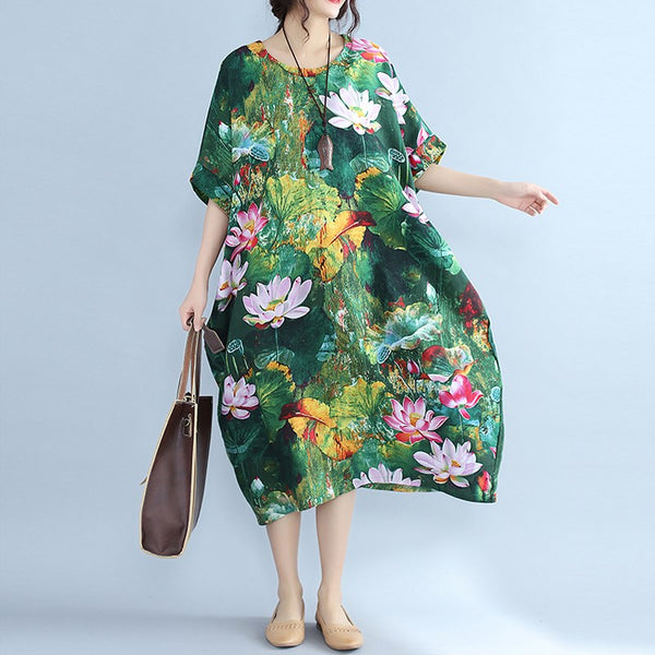Plus Size Vintage Boho Midi Dress