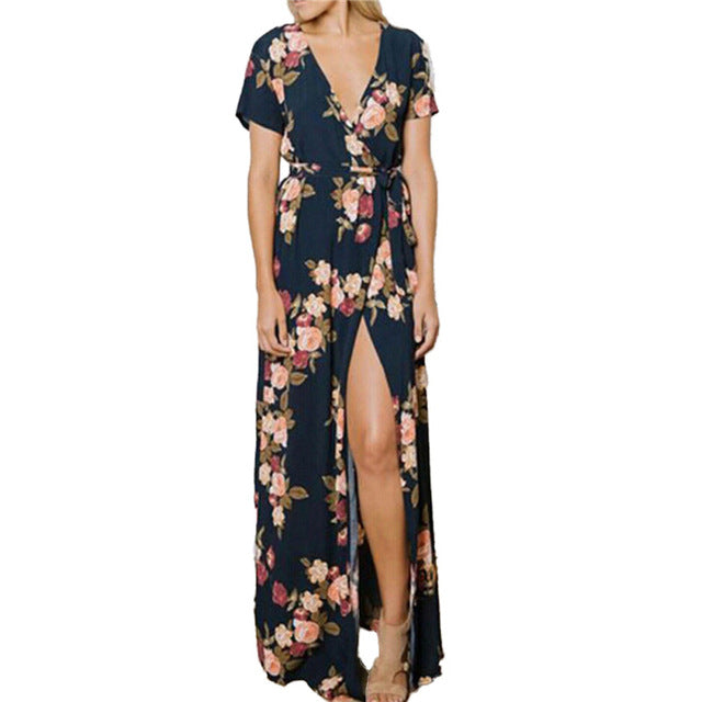 Summer Boho Floral Print Chiffon Split Long Dress