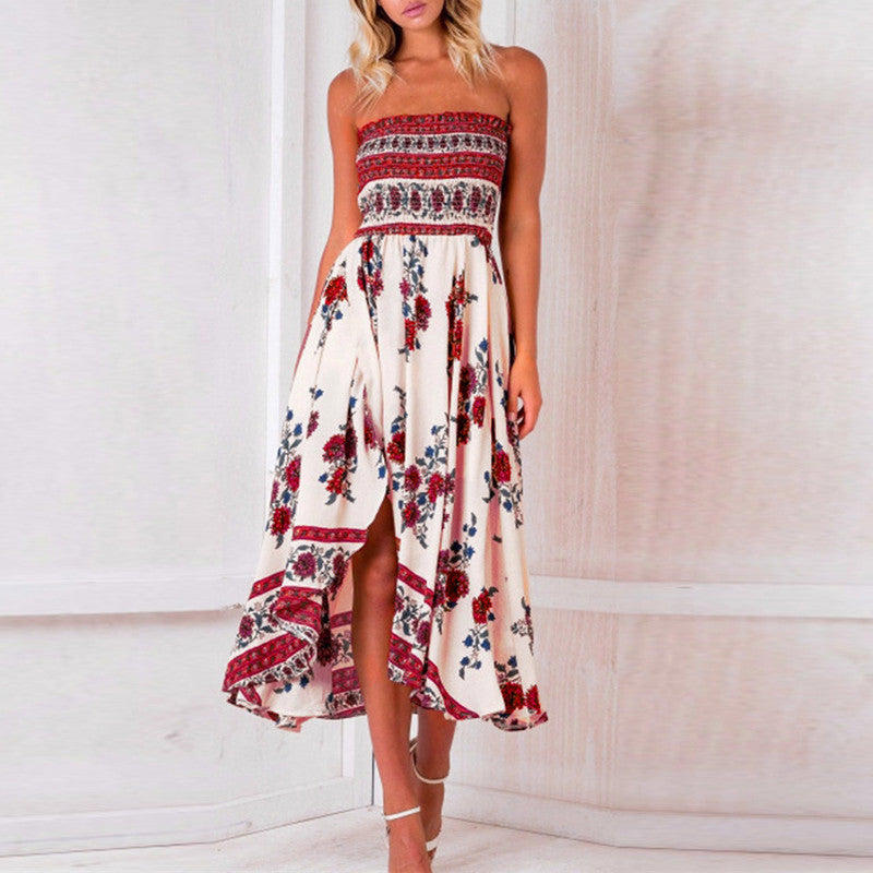 Long Boho Dress Vintage Strapless Floral Print Casual Party Elegant Dresses Sexy Maxi Shift Dressess Hippies