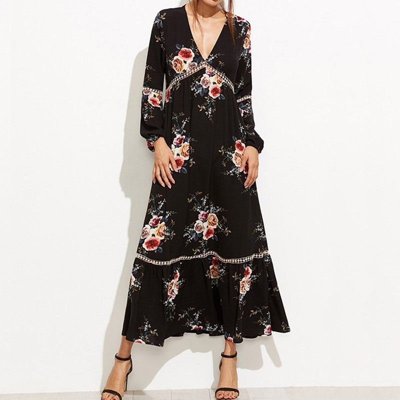 Floral Print Lace Crochet Maxi Dress