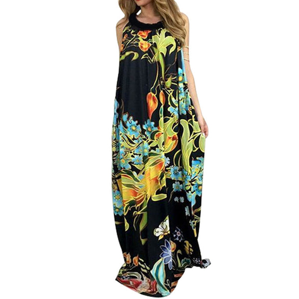Boho Sleeveless Floral Print Loose Maxi Dress