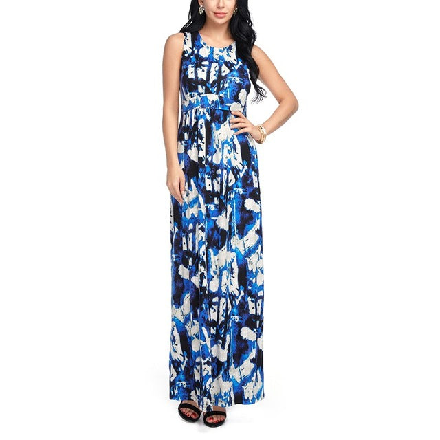 Boho Style Maxi Boho Dress Summer Casual Loose Off Shoulder Multicolor Print Long Dresses Ladies Fashion Beach Wear Elasticity - Gisselle Morales
