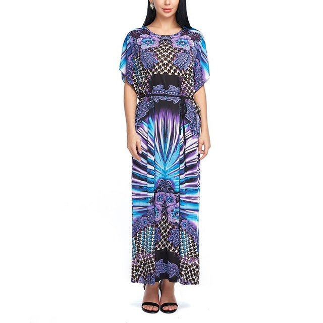 Boho Style Fashion Cotton Dress Summer Bohemian Print Vintage Maxi Long Dresses Boho Half Short Sleeve One Size Hippie Hippies