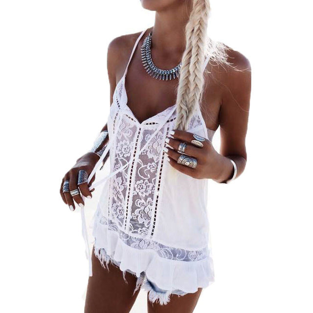 Summer Boho Style Spaghetti Straps Lace Crochet Tank Tops Sexy Boho V Neck Casual Loose Tees Camis Sleeveless Beach Party Blusas - Gisselle Morales