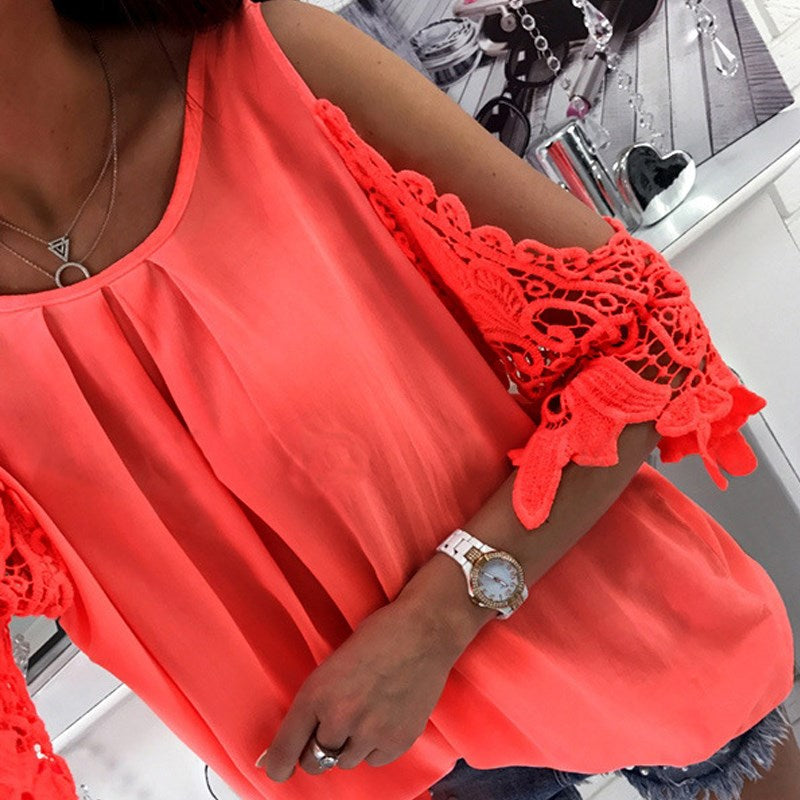 Sexy Beach Boho Style Solid Tops Fashion Boho Lace Batwing Blouses Off Shoulder Backless Shirts Short Sleeve Loose Blusas Veste - Gisselle Morales