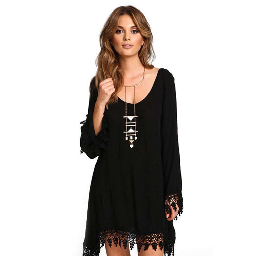 Summer Boho Style Boho Tassel Dress Short Hippie Sexy Lace Crochet Chiffon Tunic Hollow Black Beach Shirt Dress Blusa Hot Sale - Gisselle Morales