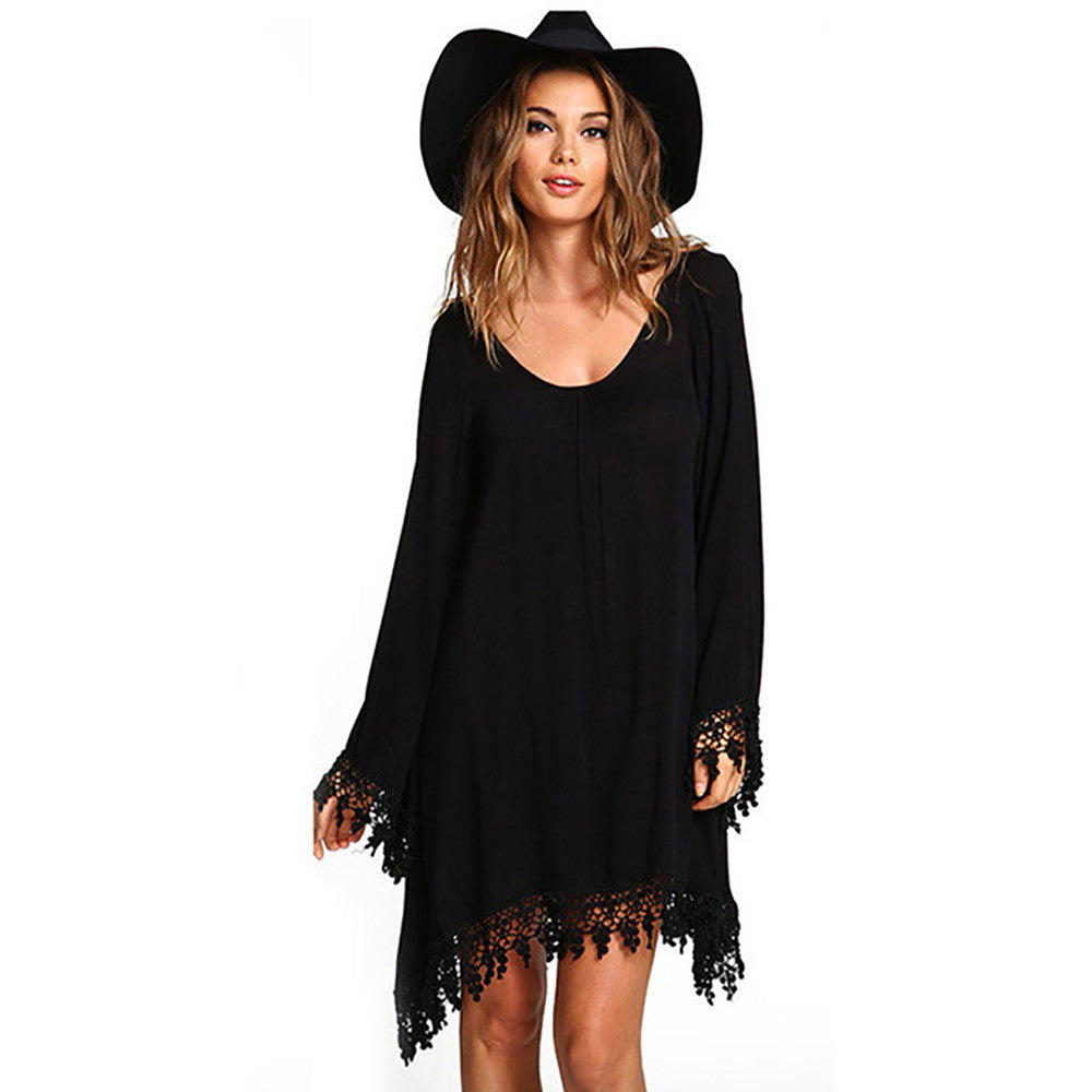 Summer Boho Style Boho Tassel Dress Short Hippie Sexy Lace Crochet Chiffon Tunic Hollow Black Beach Shirt Dress Blusa Hot Sale