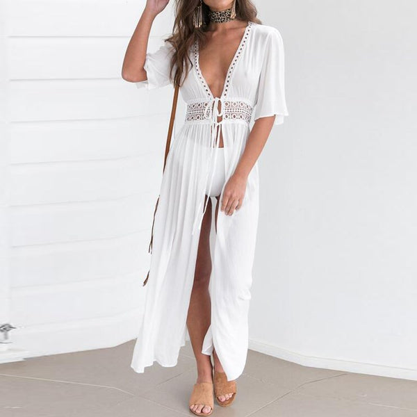 Boho Style Short Sleeve V Neck Summer Dress Hippie Loose Crochet Lace-up Beach Party Hollow Out White Cardigan Sundress - Gisselle Morales