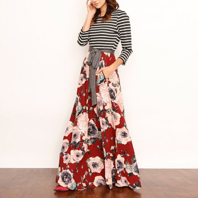 Vintage Boho Belted Maxi Dress 3/4 Sleeve Floral Print