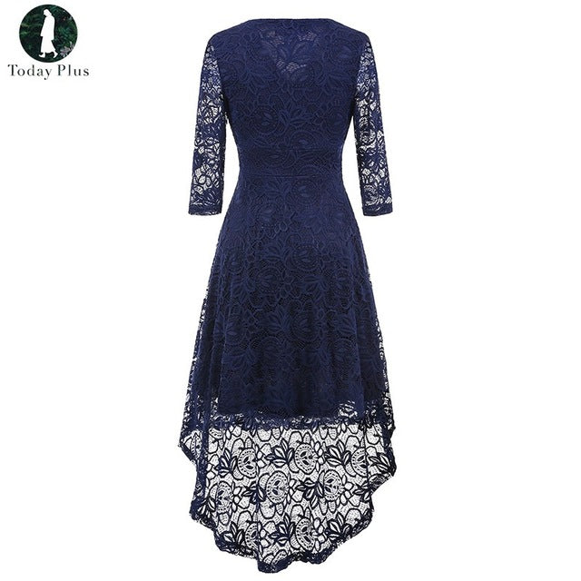 Boho Style Three Quarter Sleeve Lace V Neck Lace Dress Fashion Woman Irregular Dovetail Party Dress Autumn Boho Elegant Hippies - Gisselle Morales
