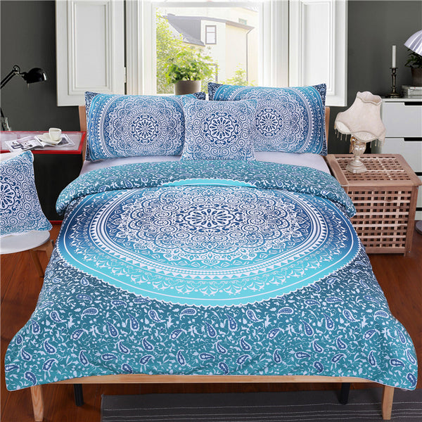 BeddingOutlet Luxury Boho Bedding Set Queen Crystal Arrays Duvet Quilt Cover with Pillow Case Blue Printed Bedspread 4Pcs - Gisselle Morales