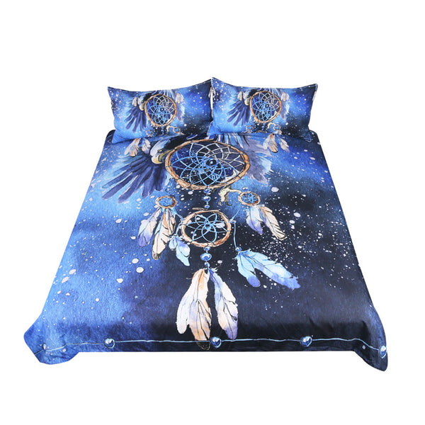 BeddingOutlet Dreamcatcher Bedding Set Queen Size Feathers Blue Printed Duvet Cover Boho Bedclothes 3pcs Bald Eagle Home Textiles - Gisselle Morales