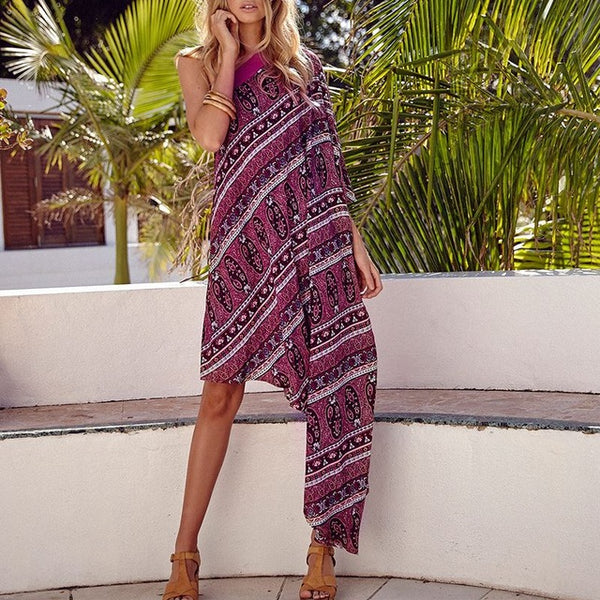 Boho Style Sexy One Shoulder Boho Midi Dress Ladies Floral Print Casual Irregular Hem Party Maxi Long Dress Hippies