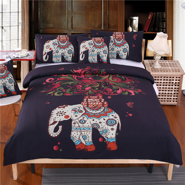 BeddingOutlet Boho Bedding Set Indian Elephant Black Bohemia Duvet Cover Bedspread Twin Full Queen King Bed Set 4Pcs - Gisselle Morales