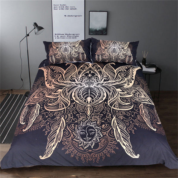 BeddingOutlet Lotus Bedding Set Queen Size Flower Bohemian Duvet Cover Sun Print Boho Bed Set King Black Multi Sizes Bedspreads - Gisselle Morales