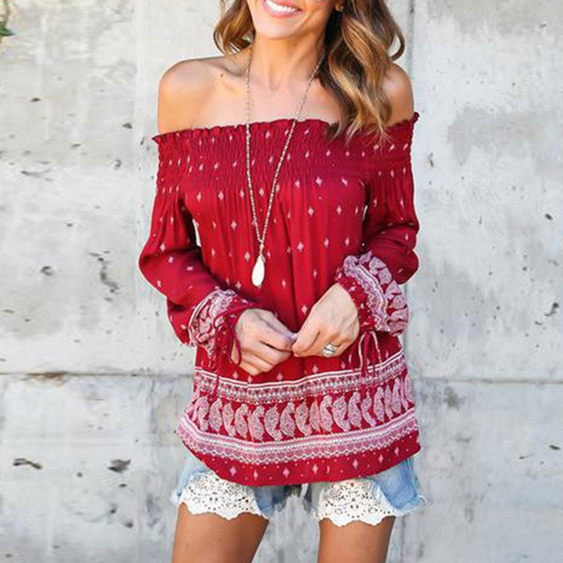 Boho Styles Off Shoulder Sexy Printed Blouses Shirts Hippie Autumn Ladies Slash Neck Long Sleeve Casual Loose Tops Blusas - Gisselle Morales