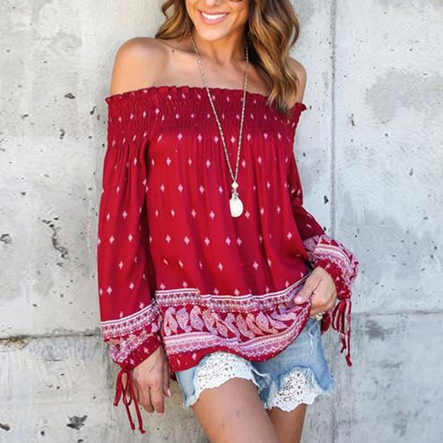 Boho Styles Off Shoulder Sexy Printed Blouses Shirts Hippie Autumn Ladies Slash Neck Long Sleeve Casual Loose Tops Blusas