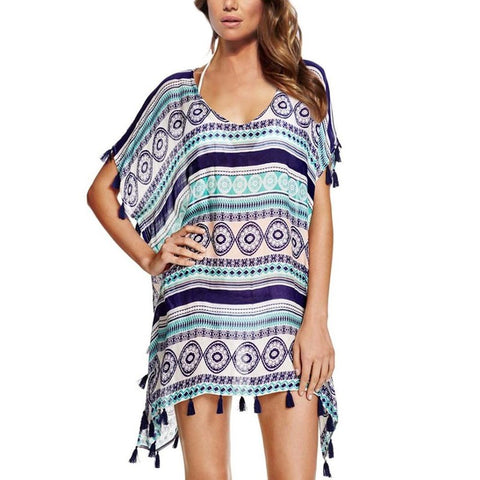 Summer Vintage Boho Style Geometric Printed Beach Mini Dress O neck Batwing Sleeve Tassel Loose Chiffon Dresses Hippies