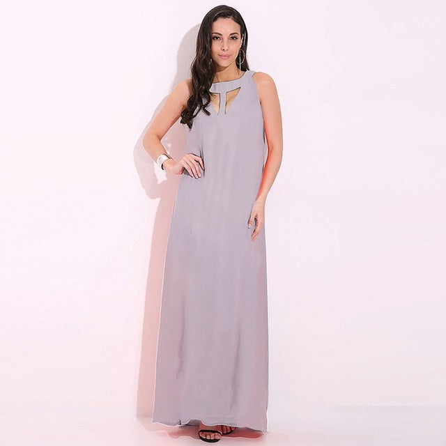 Hippie Summer Boho Style Beach Maxi Long Dress Ladies Hollow Out Sleeveless Off Shoulder Casual Loose Dresses