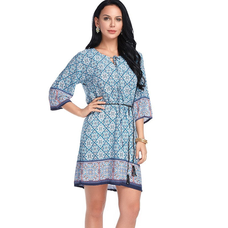 Boho Style Cotton Summer Dress Casual Boho O Neck Comfort Dresses Half Short Sleeve Print Beach Hippies Size L XL 6 Color - Gisselle Morales