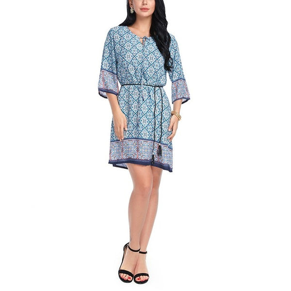 Boho Style Cotton Summer Dress Casual Boho O Neck Comfort Dresses Half Short Sleeve Print Beach Hippies Size L XL 6 Color