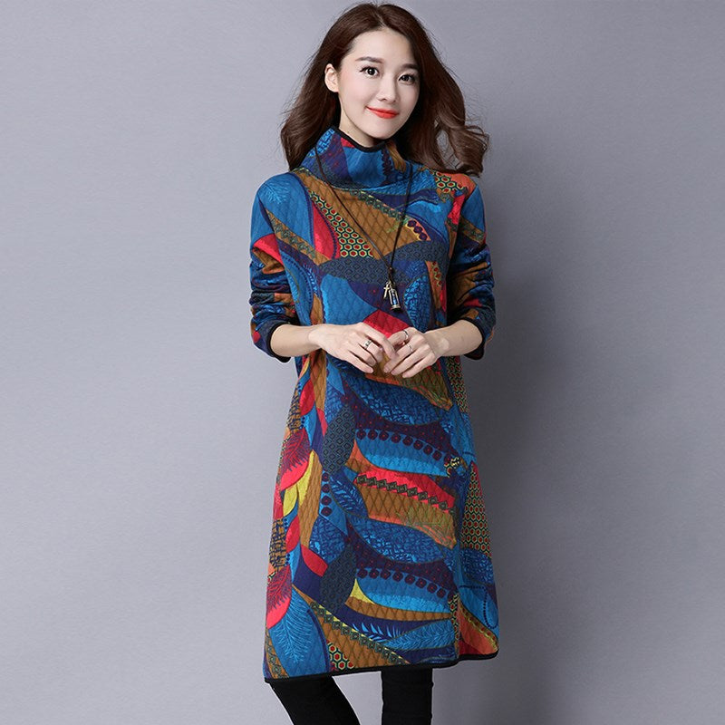 Boho Style Dress Turtle Neck Long Sleeve Vinatge Boho Print Dress Casual Plus Size Dress Hippie