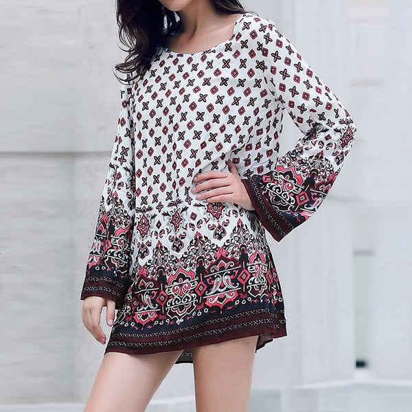 Vintage Print Mini Boho Hippie Dress - Gisselle Morales