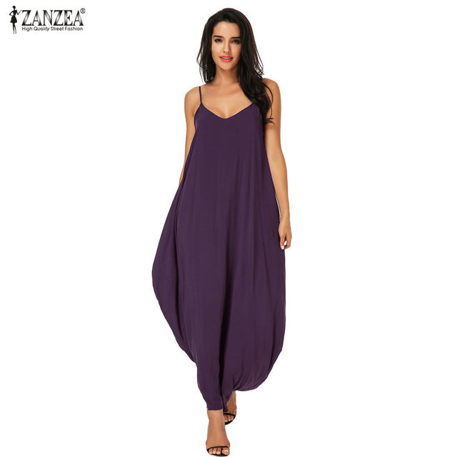 ZANZEA Summer Oversized Hippies Boho Style Boho Strapless Sexy V Neck Sleeveless Dress Casual Loose Long Maxi Dress Hippies - Gisselle Morales