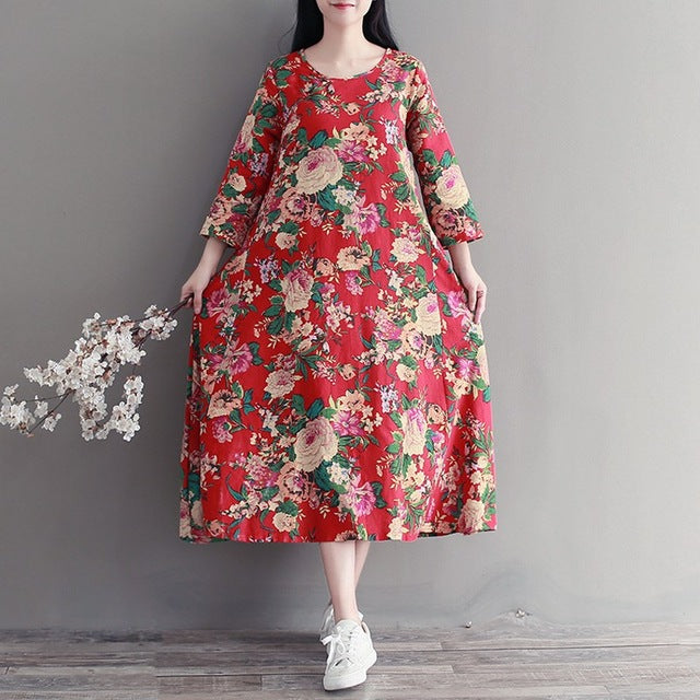 Floral Vintage Dress (Plus Size) - Gisselle Morales