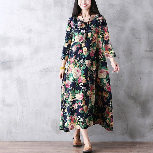 Floral Vintage Dress (Plus Size)