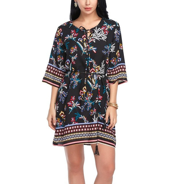 Cotton Summer Casual Floral Print Boho Dress - Gisselle Morales