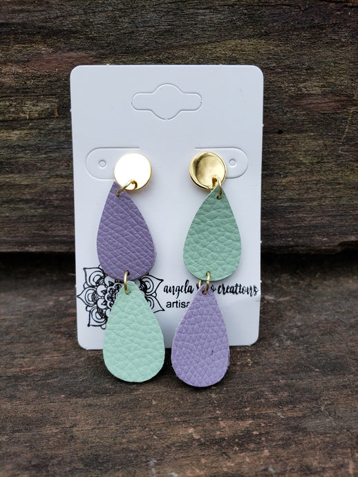 Earrings Faux Leather Teardrops (Mint and Lavender)