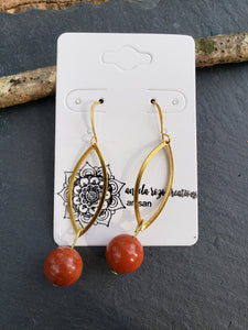 Brass Marquise Earrings with Stone Beads