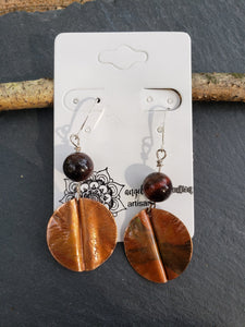 Foldformed Copper Earrings with Red Tiger Eye Beads