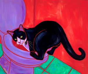 """Aquatic Cat"" - Tuxedo Cat Matted Print"