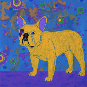 """Bubble Pop Electric"" - French Bulldog Matted Print"